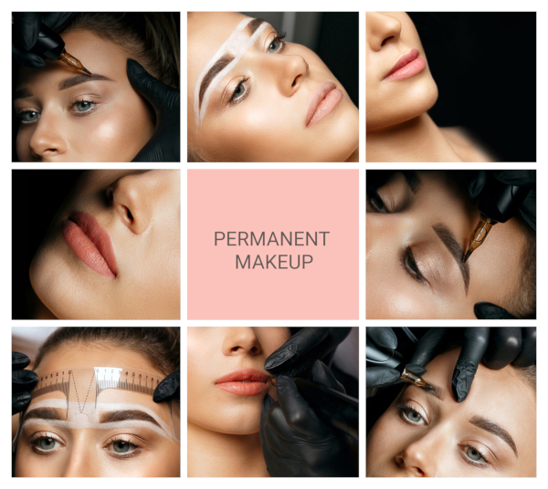 Permanent,Makeup,Collage:,Closeup,Photos,Of,Woman,With,Eyebrow,And